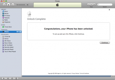 iPhone Factory Unlock Completed