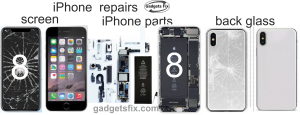 iPhone 8 screen replacement, repairs to battery, liquid damage, port, sound, camera, software unlocking, board repairs at Gadgets fix it