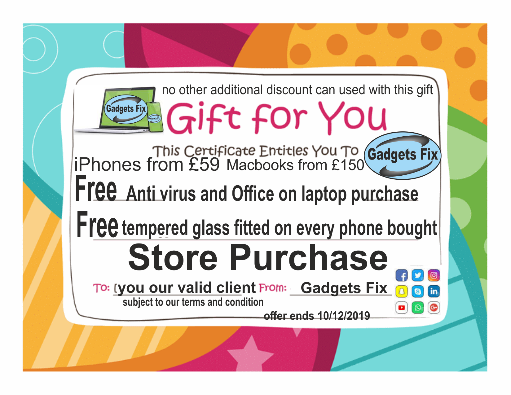 voucher discount Gadgetsfix.com for for free tempered glass and anti virus when buying laptops and phones