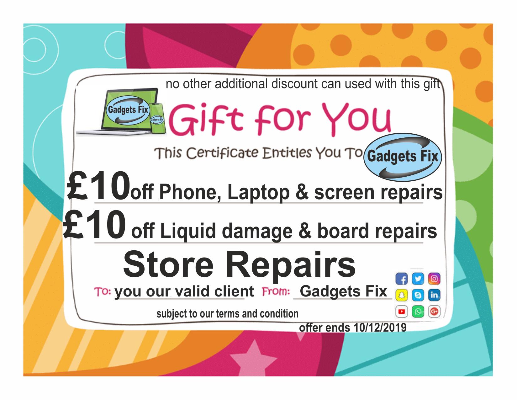 voucher discount Gadgetsfix.com for laptop and phone screen repairs