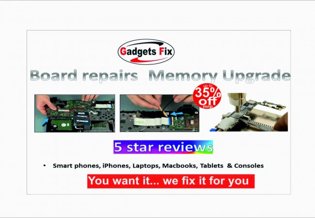 board repairs for iPhones, laptops, smart phones, macbooks iPads, tablets at gadgets fix