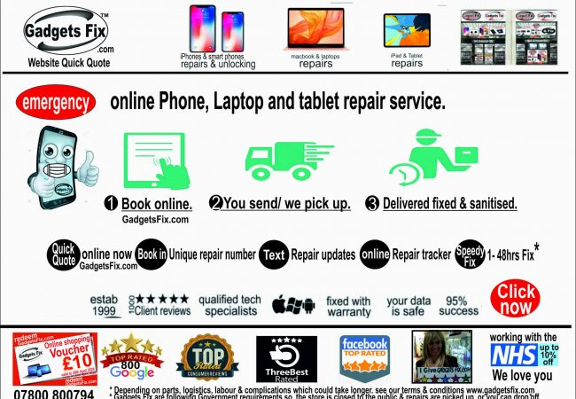emergency repairs on iPhones, smart phones, laptops, macbook, iPads, tablet & consoles type of repair