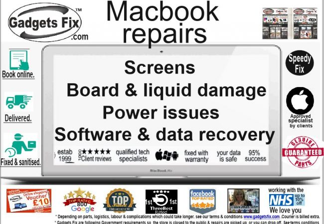 All Macbook repairs gadgets fix screens, power issues, board, liquid damage, sound & data recovery.