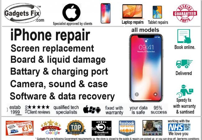 All iPhone repairs gadgets fix smashed screens, liquid damage, board issues, battery, charging port case, camera sound and connectivity