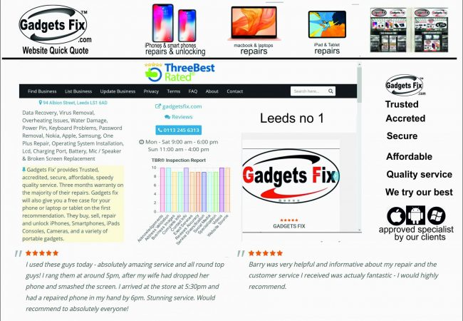 Gadgets fix three best award from clients feedback also indepentant survey found gadgets fix number one in leeds for service.