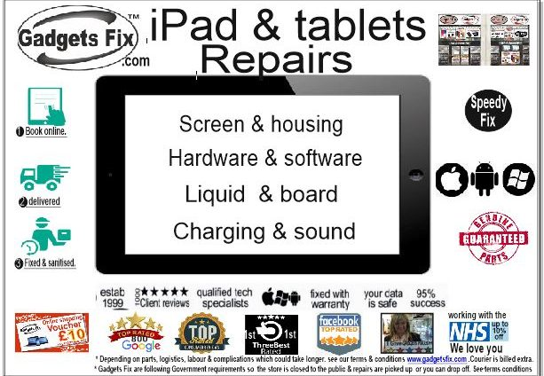 all ipads android & surface pro tablet repaired by gadgets fix Screens, hardware & software power issuesliquid & board repairs