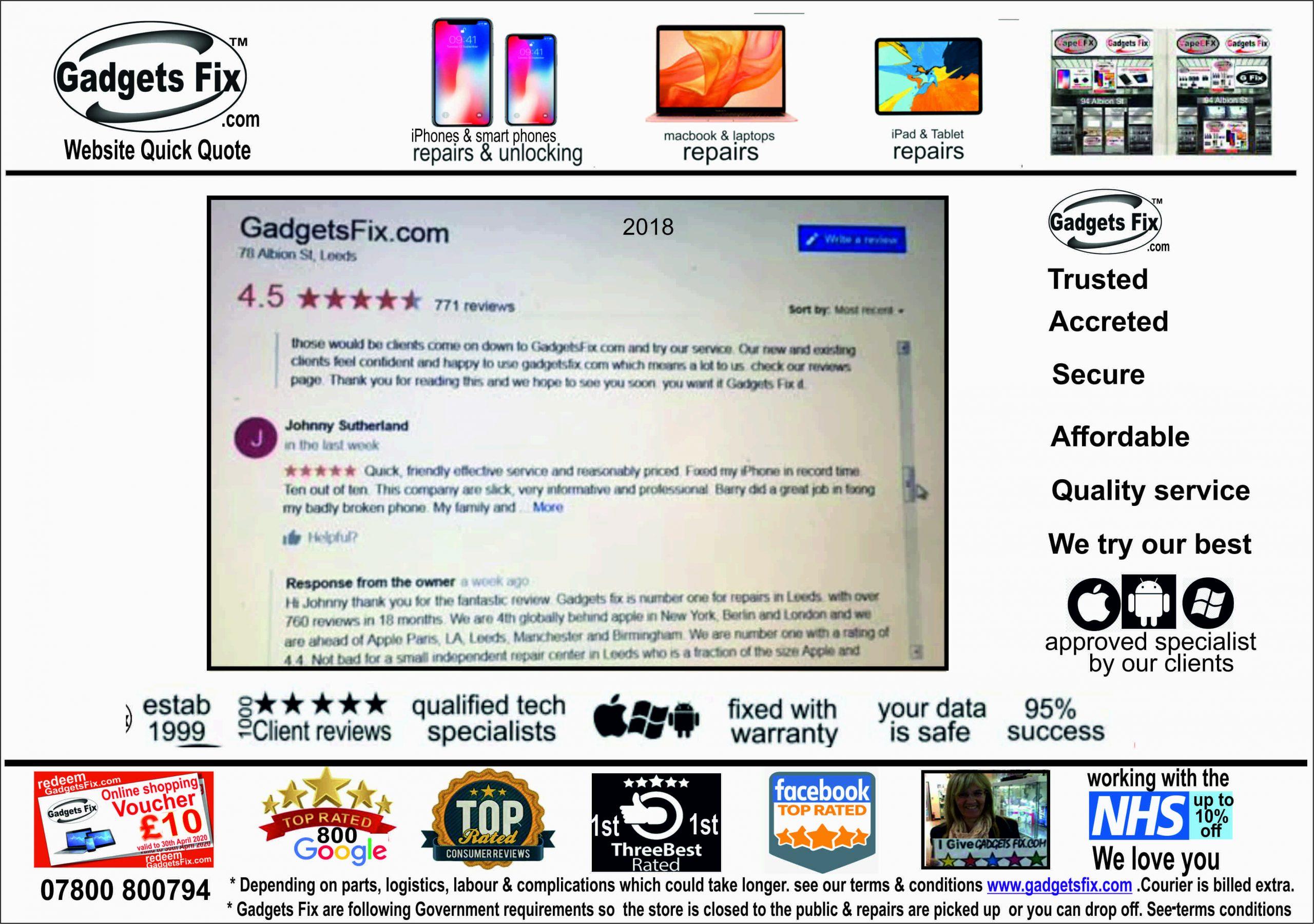 gadgets fix services & client reviews