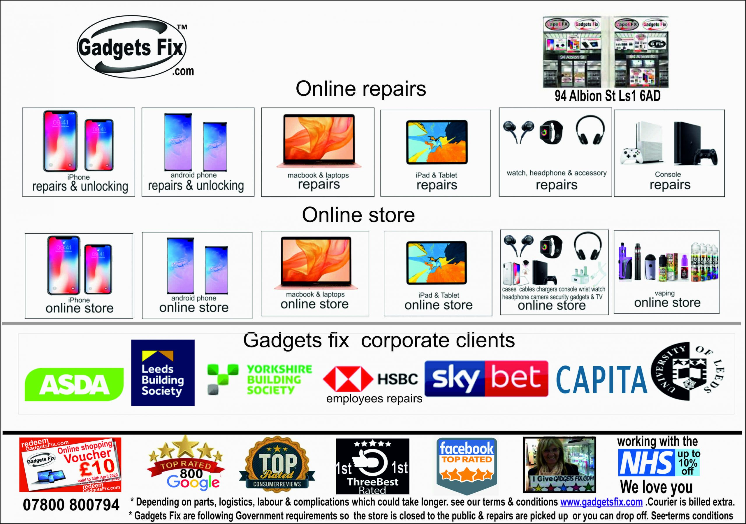 gadgets fix website and corporate clients