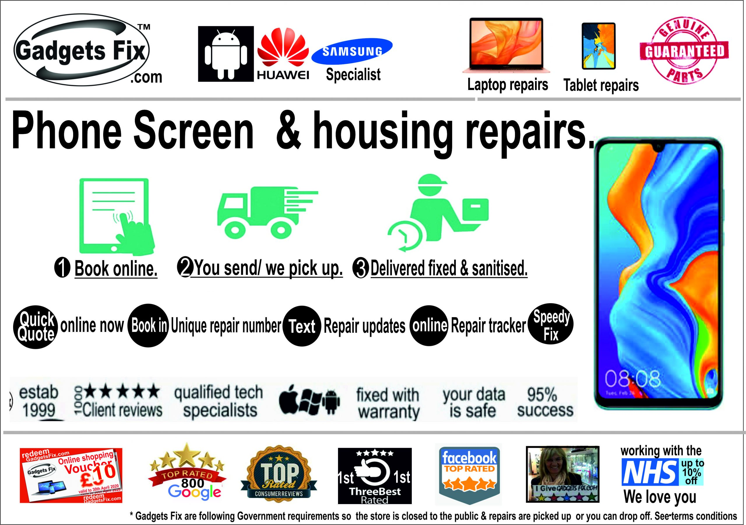 smart android phones screen repairs case fixes of android samsung & Huawei phones gadgets fix