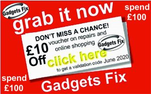 Gadgets fix £10 discount for june on online only voucher June when you spend £100of repairs and online sales Gadgetsfix have 6 store Leeds : albion st ls1 6ad, Premier Dewsbury rd LS115eg, Premier stores Kirkstall Rd LS4 2hd, Allwoodley Park news LS17 7pa, Best One LS175az, FX print LS17 7dj