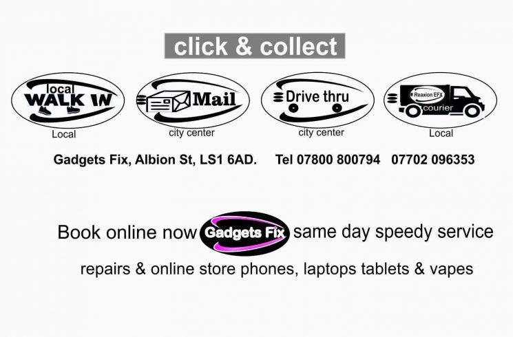 gadgets fix click and collect repairs & online sales for iPhones smart phones, laptops tablets, vape kits, e-liquids coils & battaries