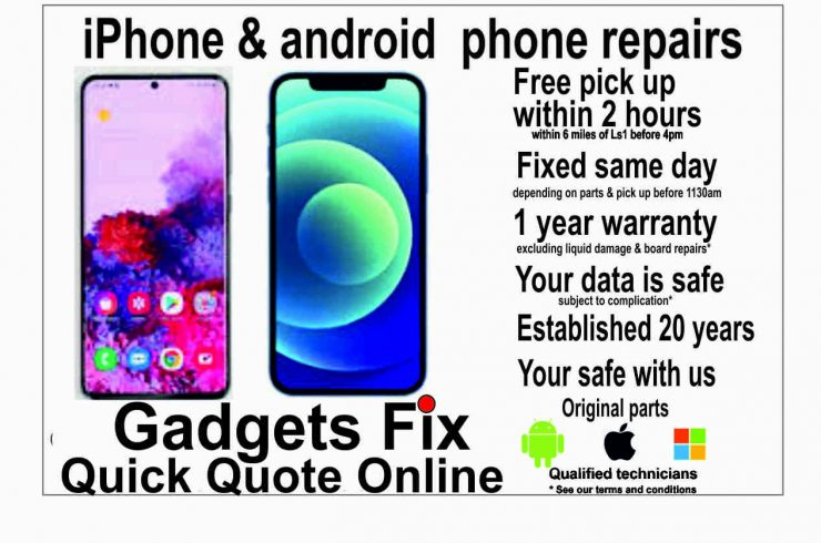 iPhone & android phone repairs at gadgets fix Leeds Free pick up